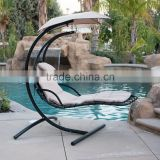 Hanging Beige Lounger Chair Arc Stand Canopy Air Porch Swing Hammock chair