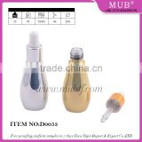 UV gel silver gold colored bowling shaped glass dropper bottle for e-juice, empty mini glass essential oil bottles