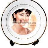 10 Inch Gold Rim Customized Sublimation Ceramic Dinner Plate For Restaurant