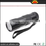 HOT sales 12 LED 395-400 nm UV Purple Light flashlight torch