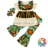 Floral Print Baby Girl Outfits Short Sleeve Ruffle Clothes Set With Matched Headband Toddler Infant Boutique Outfits