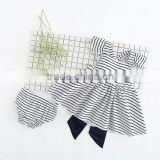 Stripe Cotton Flutter Dress Sets Wholesale Backless Outfits With Bow Fancy Clothing