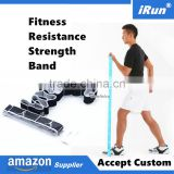 Gym Elastic Yoga Pilates Stretch Resistance Fitness Exercise Band UK - Premium Woven Jacquard Embroidery Logo - Accept Custom