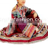 Vintage Handmade Balochi Dress With Tassels- Balochi Tribal Ethnic Coins Dress Handmade Kuchi Dress Ghagra Choli