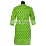GREEN PRINTED WITH YOKE NEHRU COLLAR FRONT PLEATS 100% COTTON INDIAN STYLE