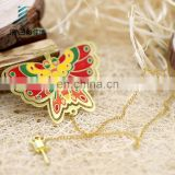 Cheap custom gold plating soft enamel butterfly metal bookmark for books