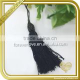 Fancy rayon fringe trim black polyester antique cord tassels for blinds FT-016
