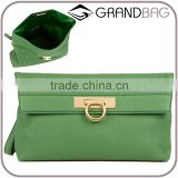 fashion grained leather clutch bag simple folded dinner ladies hand bags with wristlet strap 2016 popular apple green
