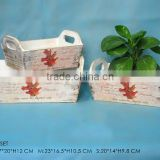 Maple Leaf Decal Design Antique Wood Planter & Antique Wood Flower Pot with Wood Ear for Home&Garden Decor