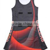 Custom design stretch black netball dress with bibs