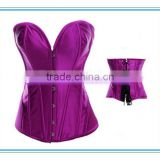 Full Spiral Steel Boned Basque Lace up Overbust Corset Body Shaper Top