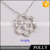 fashion design modern pendant flower shape 925 silver pedant alphabet pendant with zircon