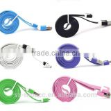 Colorful noodle flat usb cable for samsung smartphones