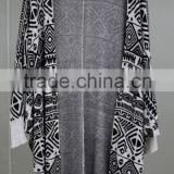 Medium and long Geometric printing Knitted cardigan Irregular graphics sweater