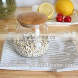 Natural beauty glass canister glass storage jar with bamboo lid