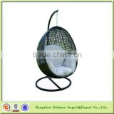 High quality cheap PE rattan ball pod chair with cushion and steel stand for leisure time-FN4117