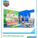 Bedroom Furniture Kids Round Bunk Bed With Desk And Drawer