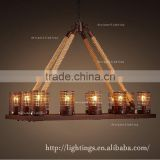 chrismas light retro industrial antique vintage decoration pendant light, restaurant hemp rope round led chandelier
