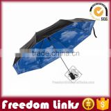21 Inch 8K Weatherproof Umbrella Blue Sky And White Clouds Print Inside                                                                         Quality Choice