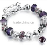 New Stock Fashion Jewelry Alloy Material Crystal Large Hole Beads European Charm Bracelet
