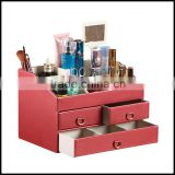 Creative with a mirror cosmetics storage boes of equisite cosmetics Taiwan leather jewelry bo factory wholesale