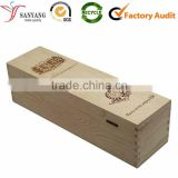 Unfinished Red Wooden Wine Box Empty Pine Wood Wine Packing Box With Handle                                                                         Quality Choice