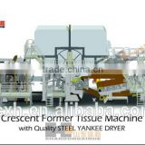 Low price CE High working speed SWZ705-2850 Crescent Tissue paper making machine with Steel Yankee Dryer