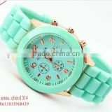 hot sale amazon watch geneva platinum silicone jelly watch