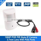 Motion Detector Realtime Wired HD 1080P PIR POE Camera Wide View Angle 3.7mm Lens