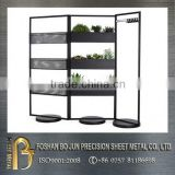 China wholesaler customized carbon steel planter racks with black powder coating, metal planter fabrication
