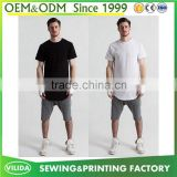 New design mens 100% polyester longline casual short sleeve slim fit blank t-shirt