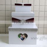 Elegant wedding fund money box with photo frame in handmade