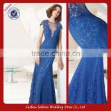 Mo1067 Floor Length Sheath Lace Design Short Sleeve Royal Blue Mother Of The Bride Dresses