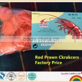 Freshly fried Chinese Red Prawn Crackers served in restaurants or as a family pack