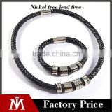 Factory Cheap Stainless Steel Leather Silver Bracelets Mens Wide Necklaces Jewelry Sets