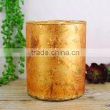 mercury glass votive candle holder wholesale for wedding decoration gold marble finish 4028