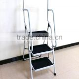 Aluminum folding household ladder with handrail,mobile step with handrail/side rails/handrail