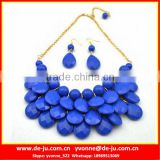 Jewelry Set Blue Plastic Bead Necklace