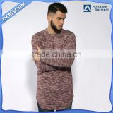 Custom apparel men's clothing heather plain tshirt long sleeve blank t-shirt wholesale extended rounded hem longline t shirt