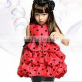 New 2014 Red vest dress girls dress children's summer princess dress bow party Birthday Gift 20118