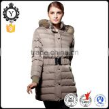 COUTUDI superior high quality ultra light shiny nylon khaki ladies down jackets with furred hood