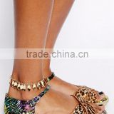 Gold Plated Leaf Tassel Anklet Ankle Bracelet Summer Beach Foot Jewelry