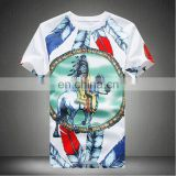 Online Shopping India Men's White Cotton Custom Printing O neck Short Sleeve Slim Fit Men's t shirts