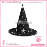 Black polyester white star printed on the hats quilt pattern witch hat for festival