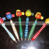 Design cartoon pen/pen with cartoon head/wooden pen with animal top