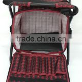 Red black check grid portable chair with storage bag