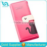 Stock Wholesale Yellow Fuschia Blue Pink Orange Black 7 Colors Available PU Leather Hasp Women Lady Female PU Cat Wallet