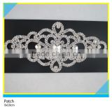 Two Rows Rhinestone Chain Trim Jewelry Applique Sew on Crystal Material Rhinestone Jewelry Patch 9x19cm