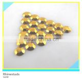 Iron on Octagon Rhinestuds Gold Round Flatback Metallic Ss6 2mm 600 Gross Package