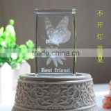 K9 crystal animal figurine 3d butterfly image crystal cube